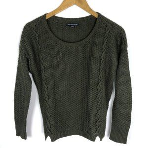 American Eagle Olive Green Shoelace Crew Sweater